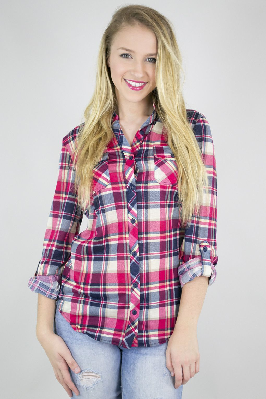Lightweight fitted plaid shirt with images plaid shirt
