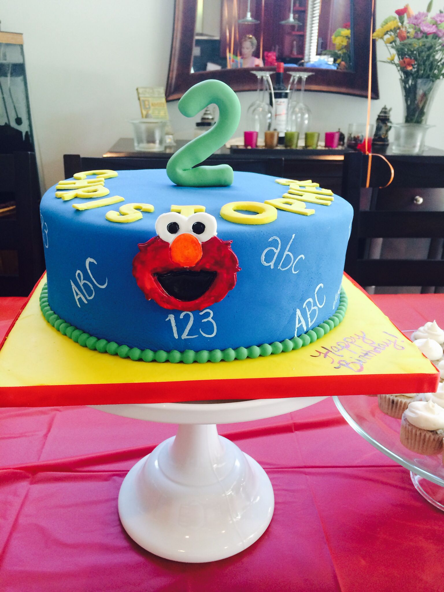 Elmo red velvet birthday cake for Christophers 2nd birthday cake