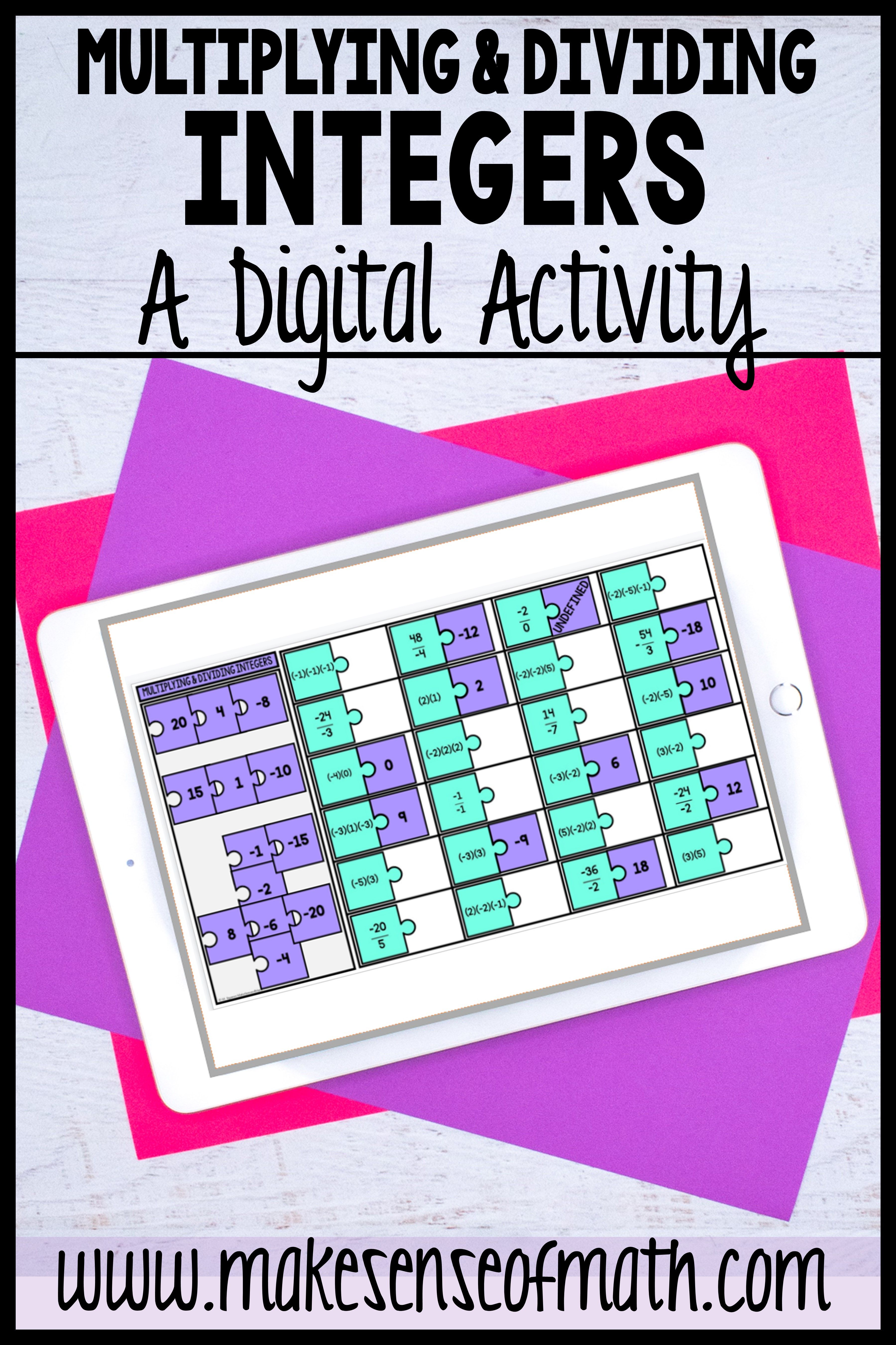 Multiplying And Dividing Integers Digital Activity In