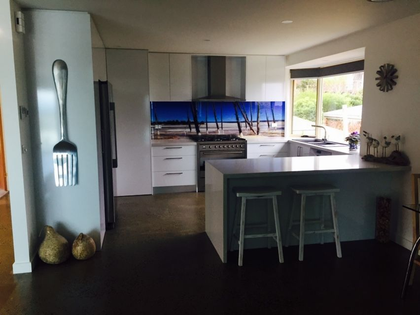 Printed Glass Splashback - Image supplied by client, image refined, printed & installed by Seein.