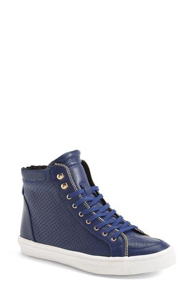 'Sandi' Perforated & Quilted Leather High Top Sneaker