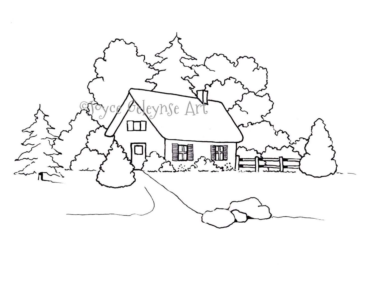 Hand Drawn Coloring Page For Adults Small House Or Cottage With Trees