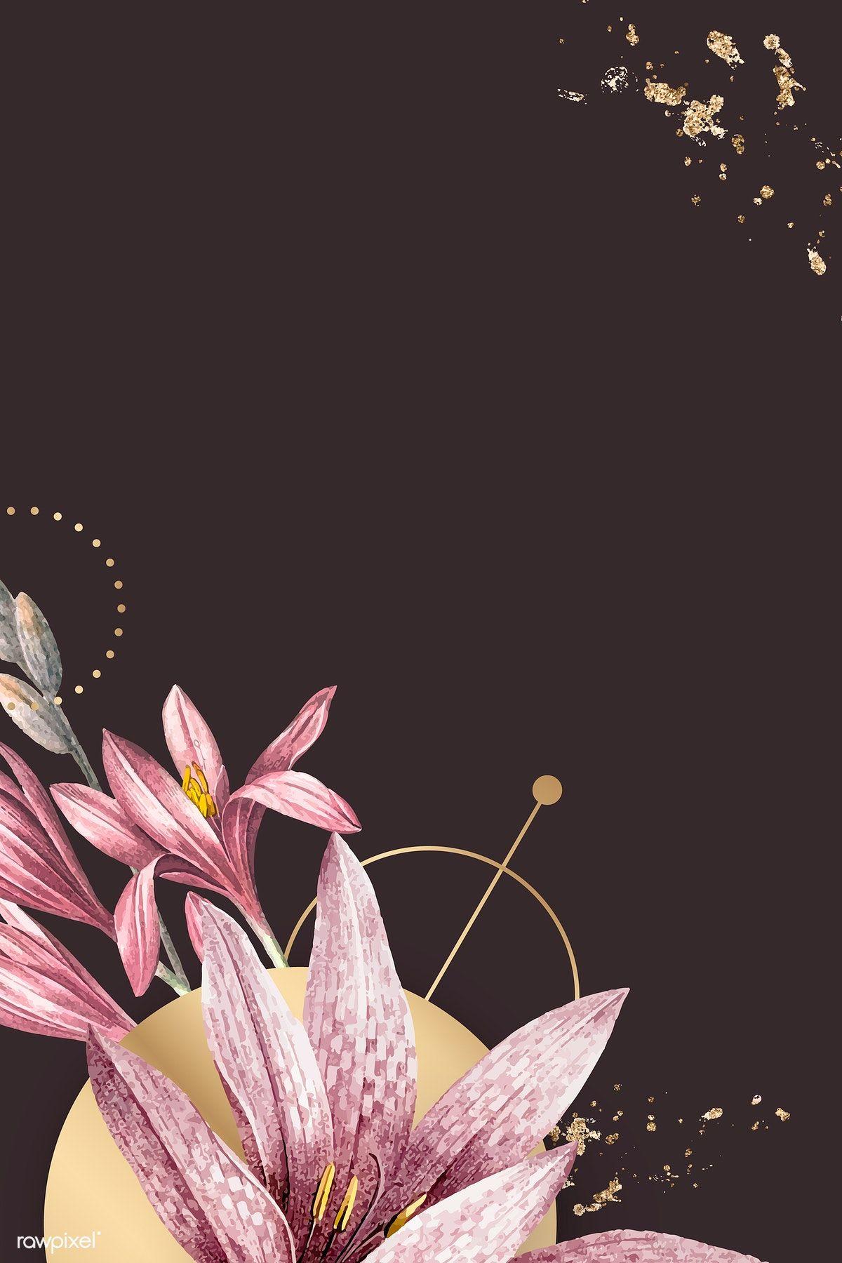 Pink amaryllis pattern background vector premium image