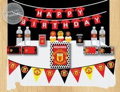 Manchester United Birthday Party Package Soccer Birthday Party Thank You Tag Water Bott Happy Birthday Cards Happy Birthday Cards Images Birthday Cards Images