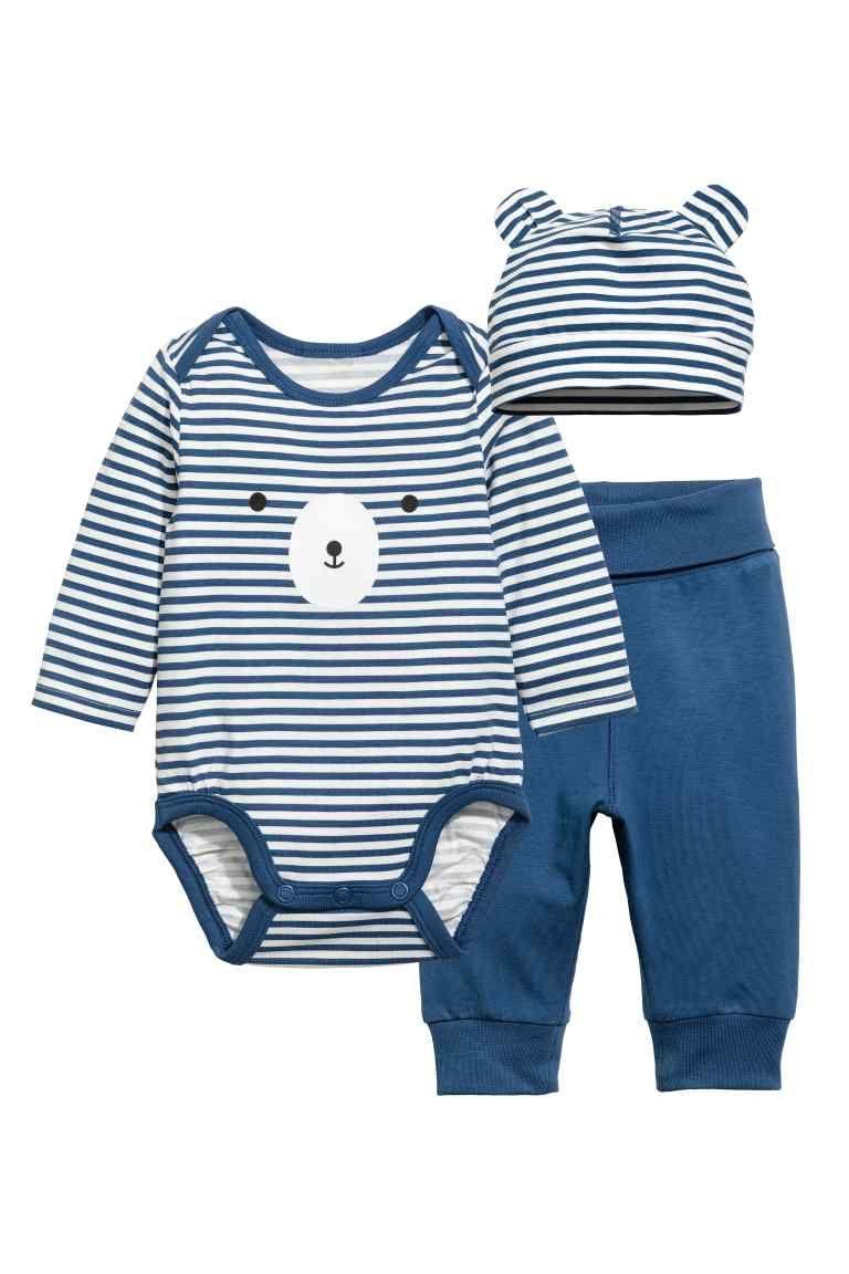 Ensemble 3 pièces en jersey - Bleu blanc rayé - ENFANT  9f4cbbcc0cc
