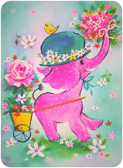 Vintage Elephant Greeting Card.