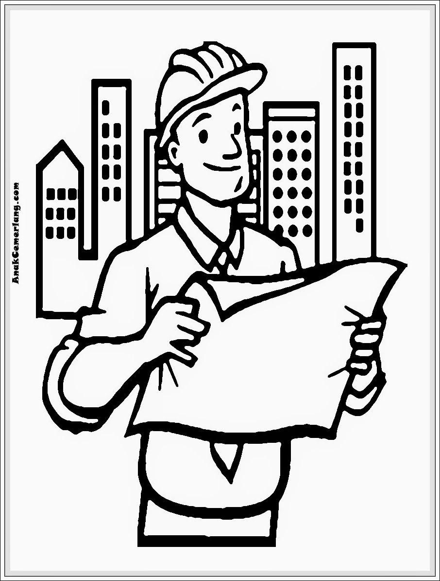 Gambar Mewarnai Profesi Arsitek Pola Resume Engineering Job