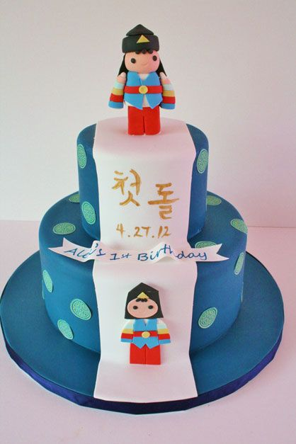 First Birthday Cakes Ny Korean Dol Party Custom Cakes Sweet Grace