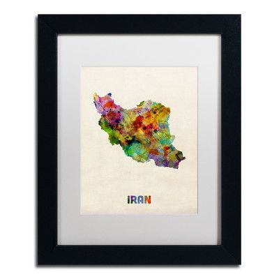 "Mercury Row Iran Watercolor Map by Michael Tompsett Framed Graphic Art Size: 20"" H x 16"" W x 0.5"" D"