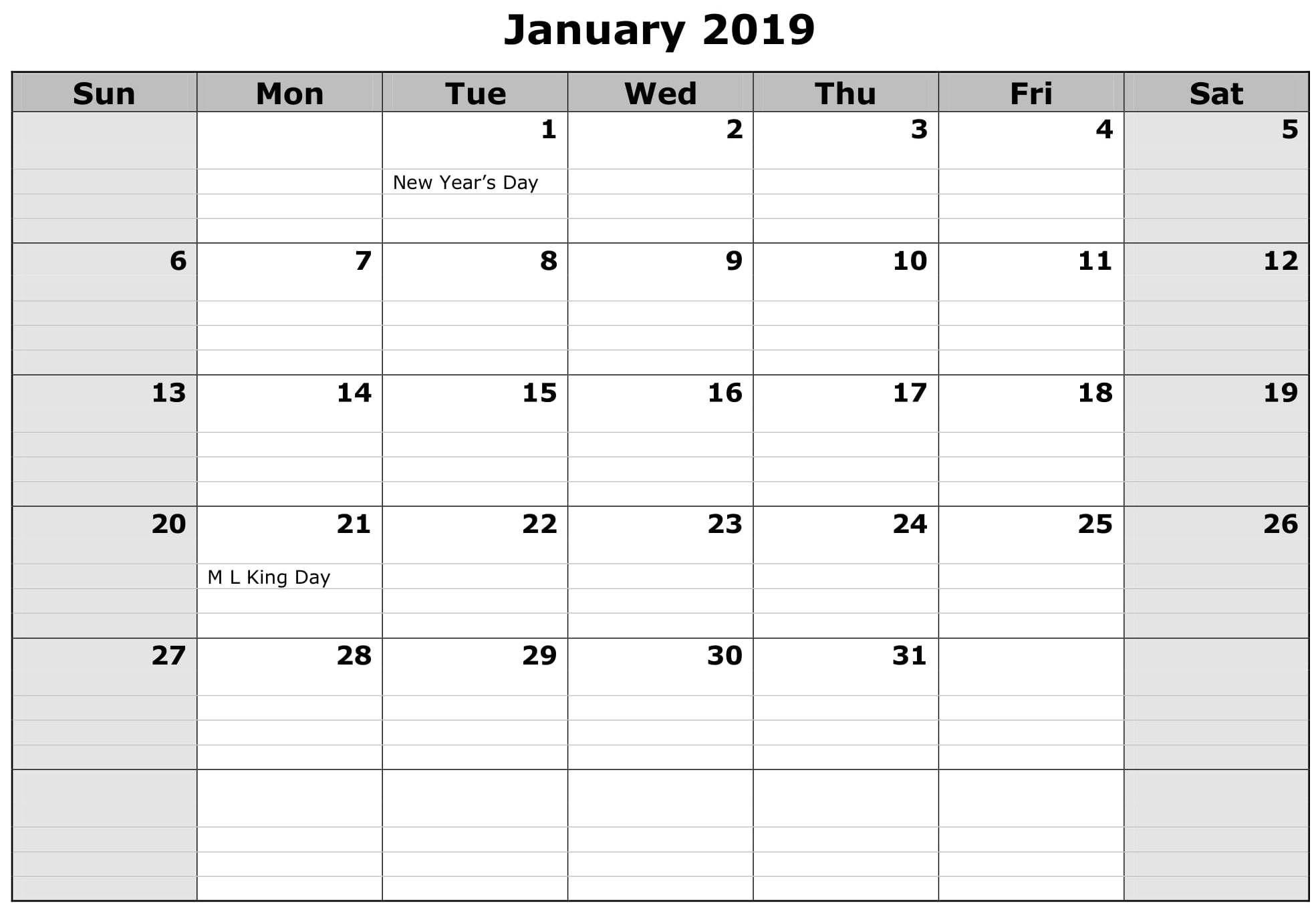 January Calendar Excel Worksheet