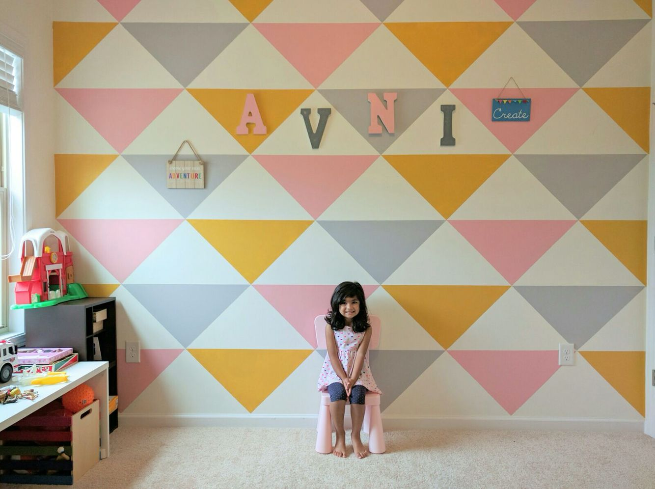 avni s room accent wall triangular pattern wall painting pastel rh pinterest com
