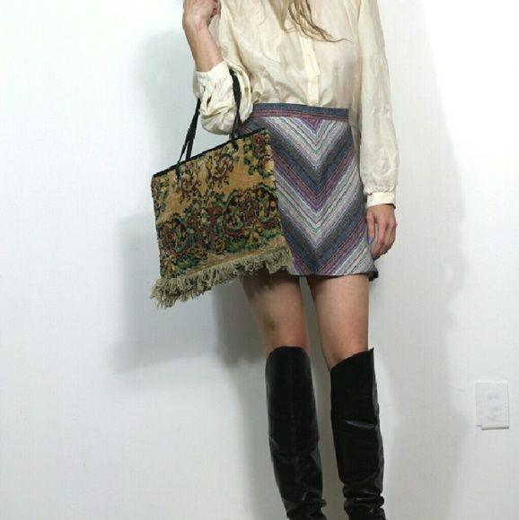 7eb4e865b8 70s vintage Mini Skirt Chevron Knit Cutest mod hippie mini. College Town -  size 11