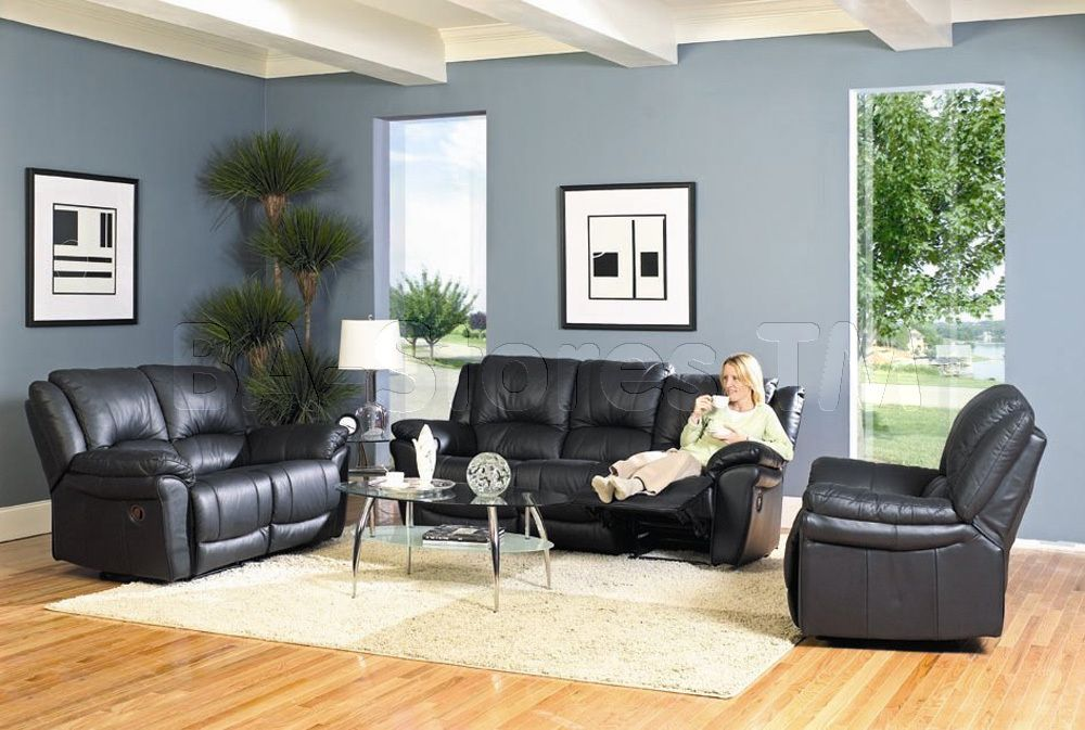 black leather living room furniture sets%0A Click Image Above To Purchase  Promenade Collection Black Leather Recliner  Loveseat Sofa Set