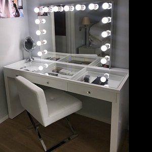 xx large lustrous gloss white glass top fantasy makeup vanity table rh pinterest com