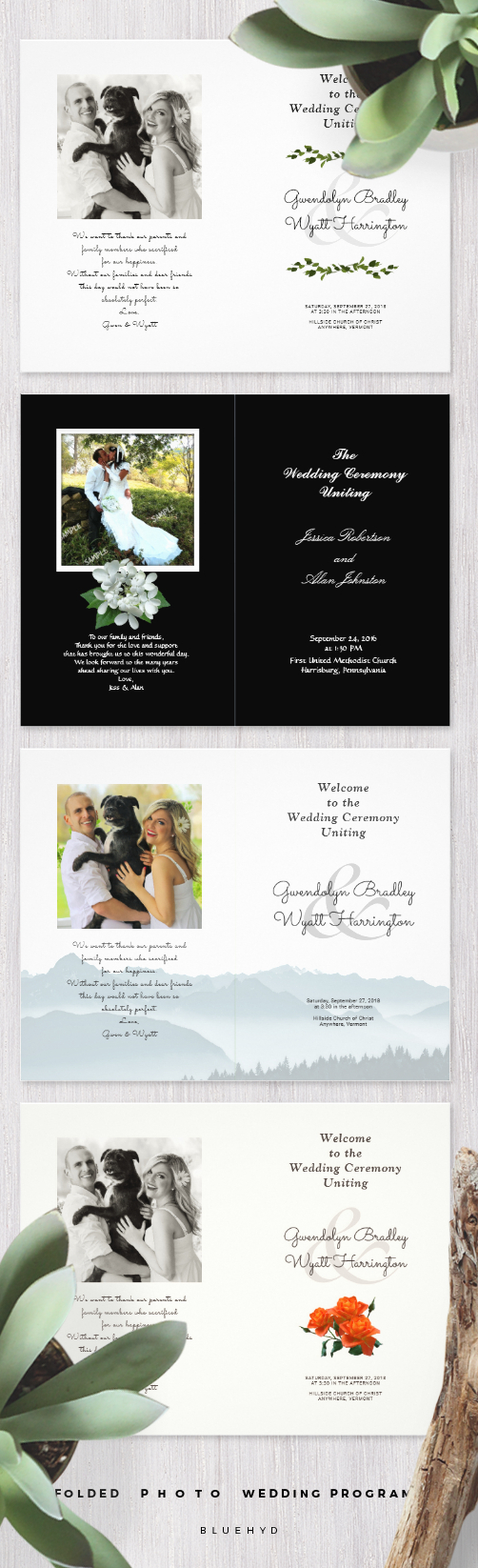 how to make your own printable wedding invitations%0A Folded wedding program templates  with photo added to the back page   Customize   pages