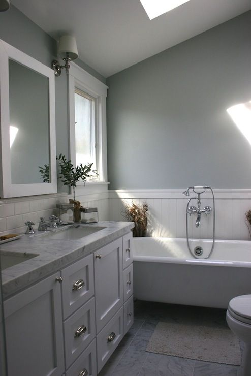 White wood framed bathroom