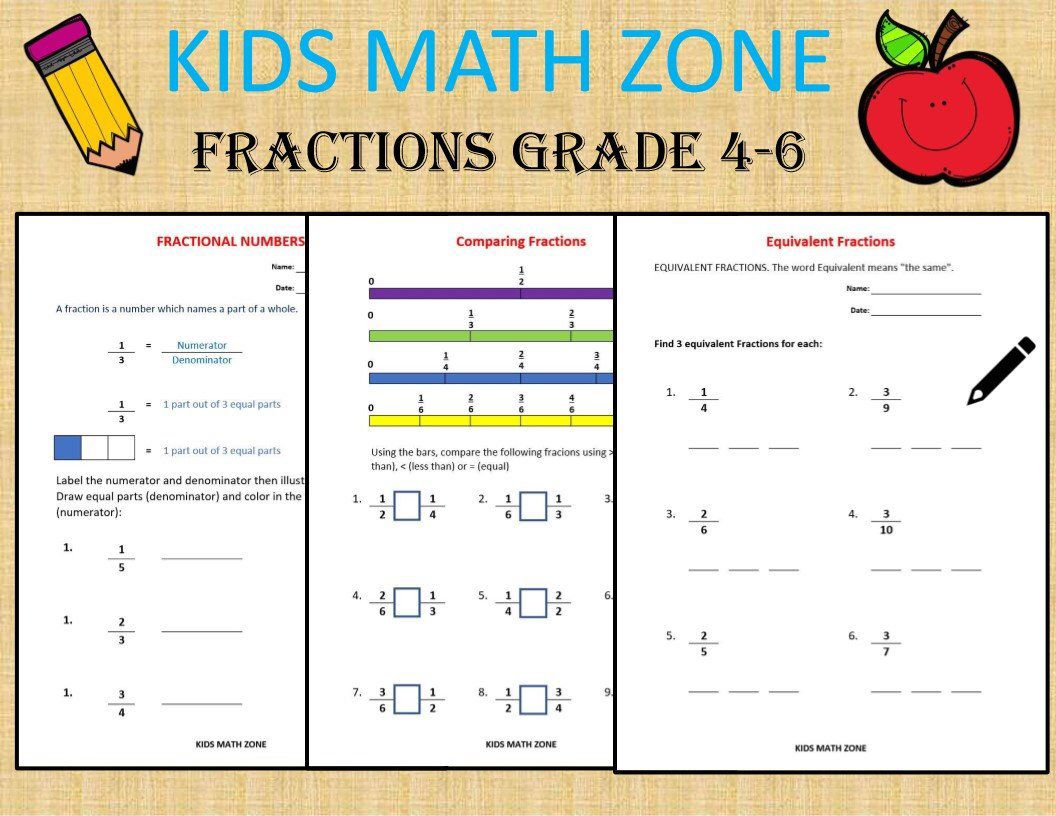 Fractions Grade 4 6 Worksheets Compare Add Subtract Etsy Kids Math Worksheets Math Worksheets Grade 6 Math Worksheets