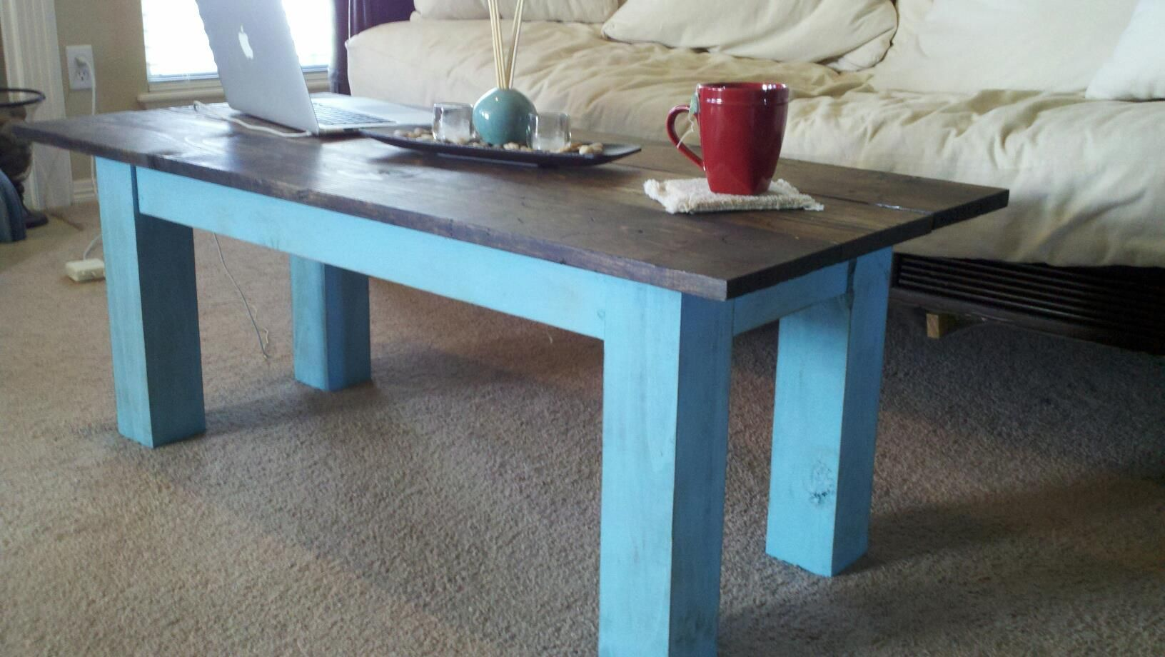 simple dark wood board top coffee table with distressed aqua rh pinterest com