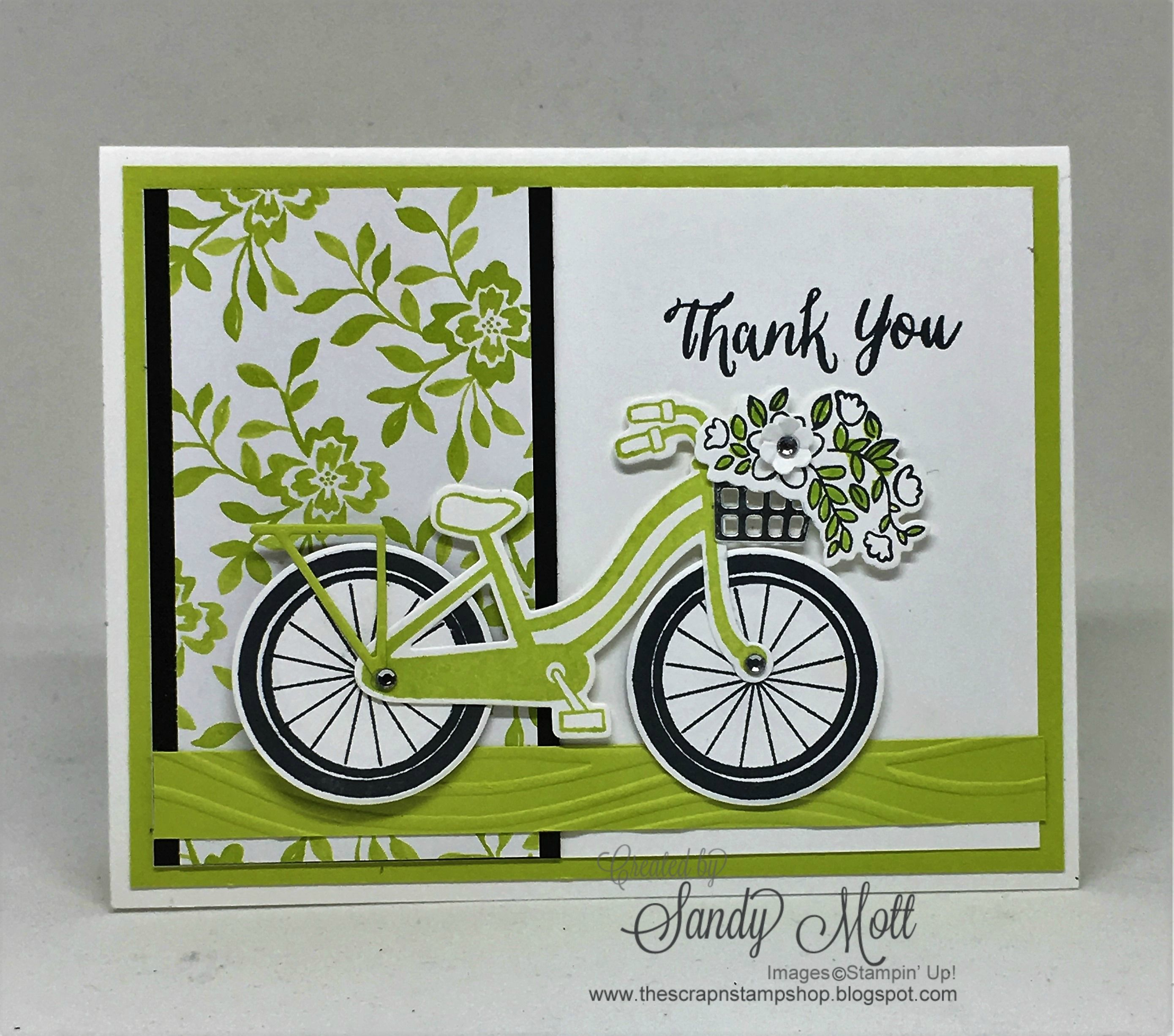 Bike Ride And Lemon Lime Twist Created By Sandy Mott Bicycle Cards Stamped Cards Cards Handmade