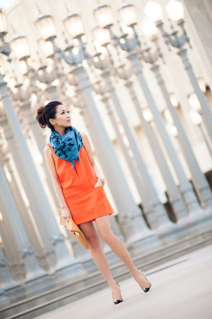 Orange shift & teal wrap - great colour combo