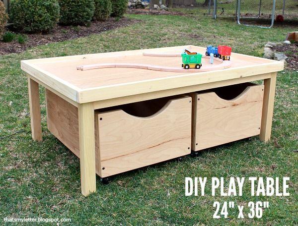 Diy Play Table 24 X 36 With Storage Bins Free Plans Diy Kids
