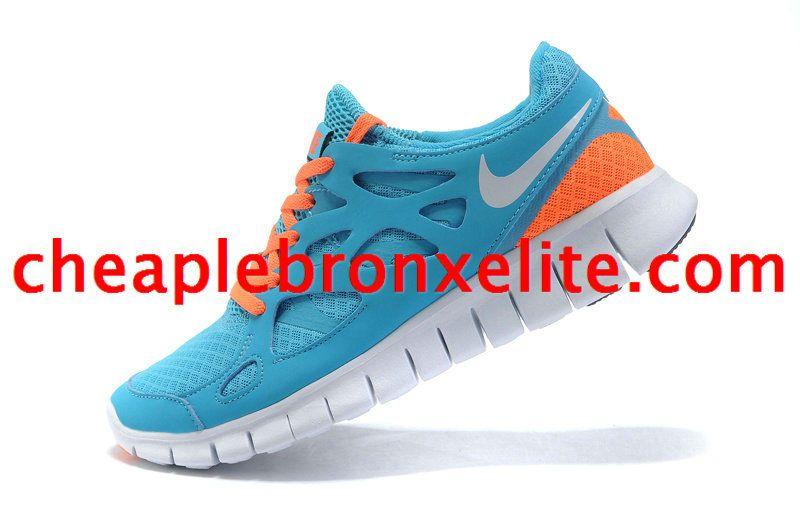 online store d03ac b2c10 Sky Blue Nike Free Run 2 Womens Orange 443816 410