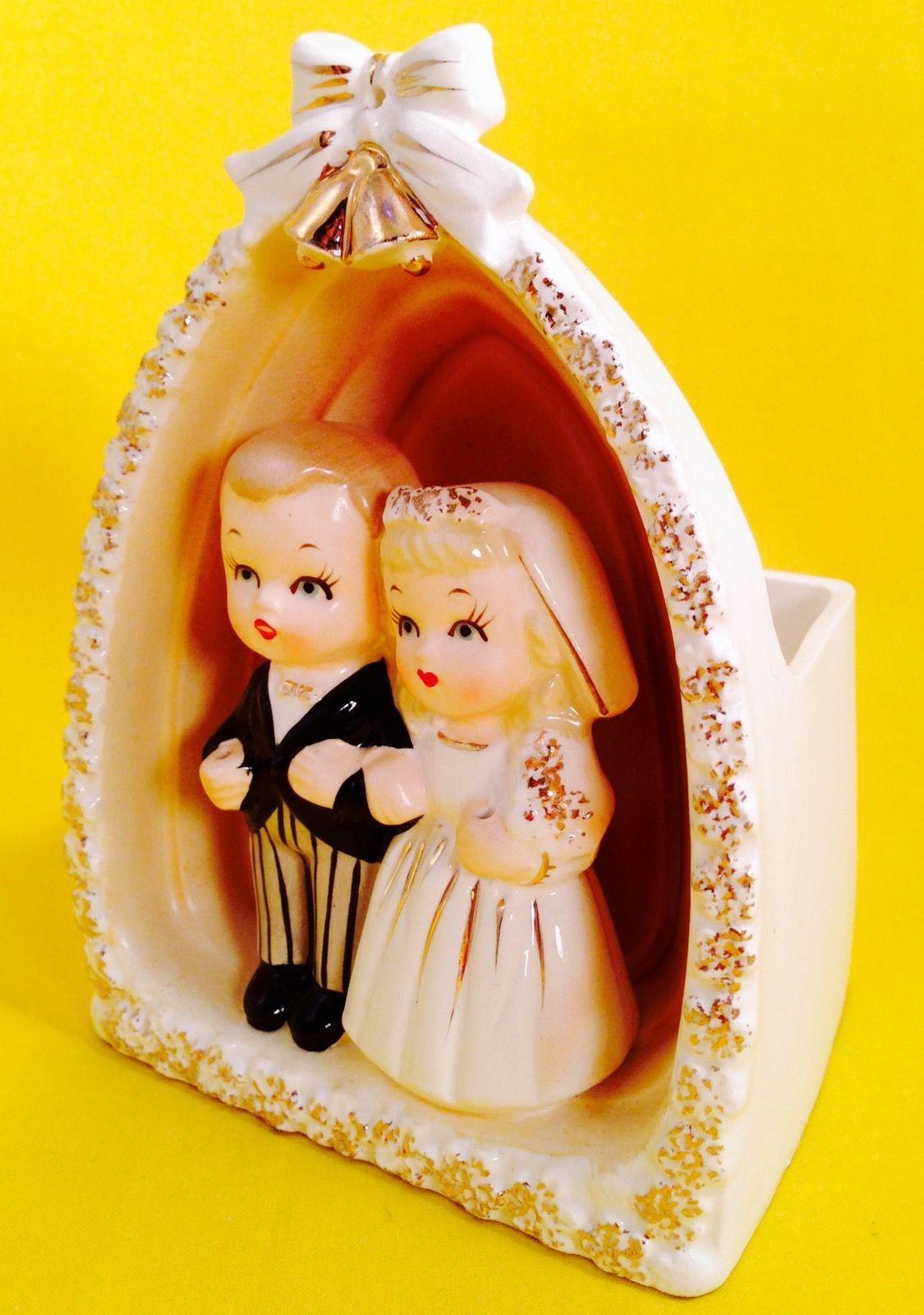 Bride & Groom Wedding Napco Figurine Vintage Planter Cake Topper Retro 1950s