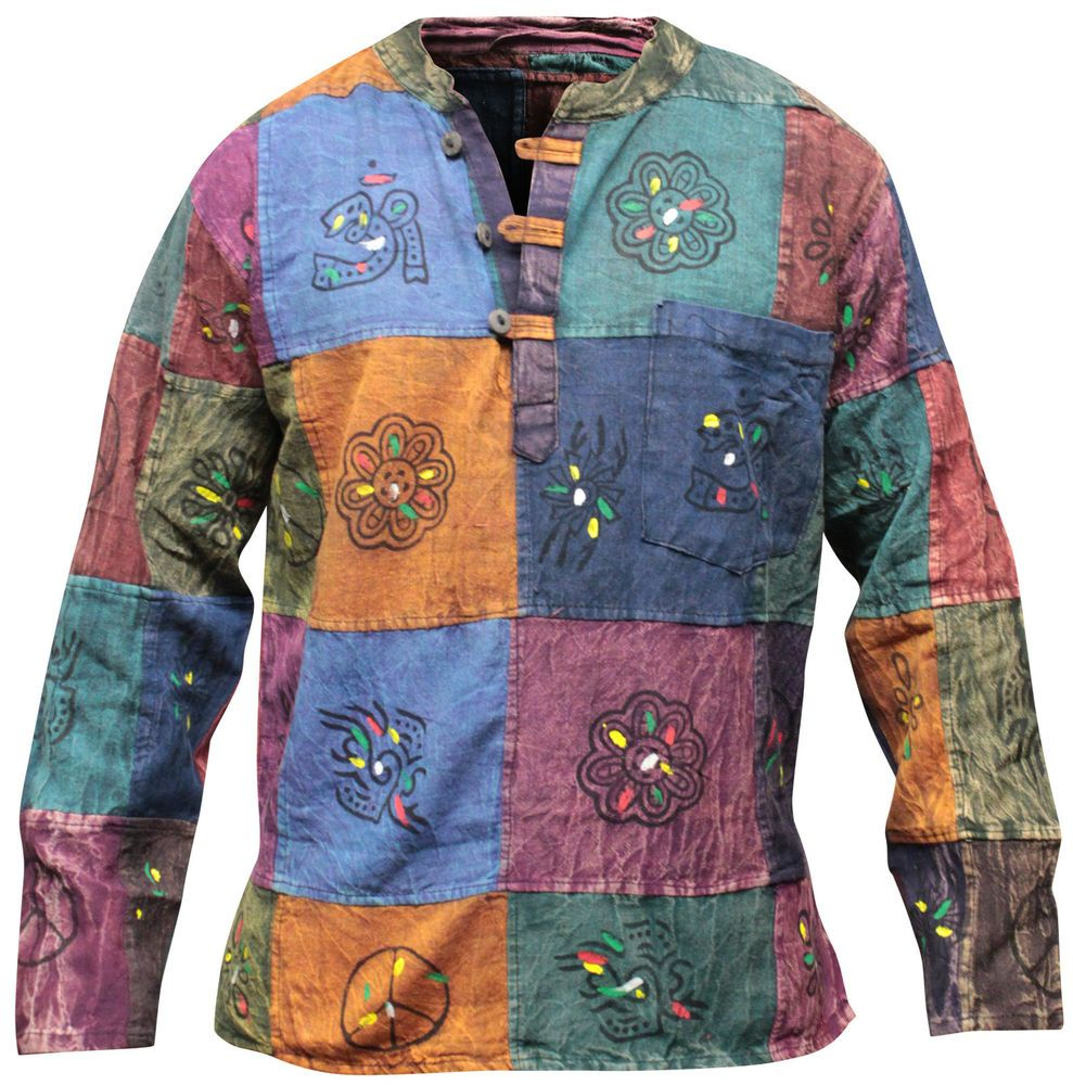 Stonewashed Grandad Festival Shirt With Patchwork,Colourful,Hippie Clothing ,Boho