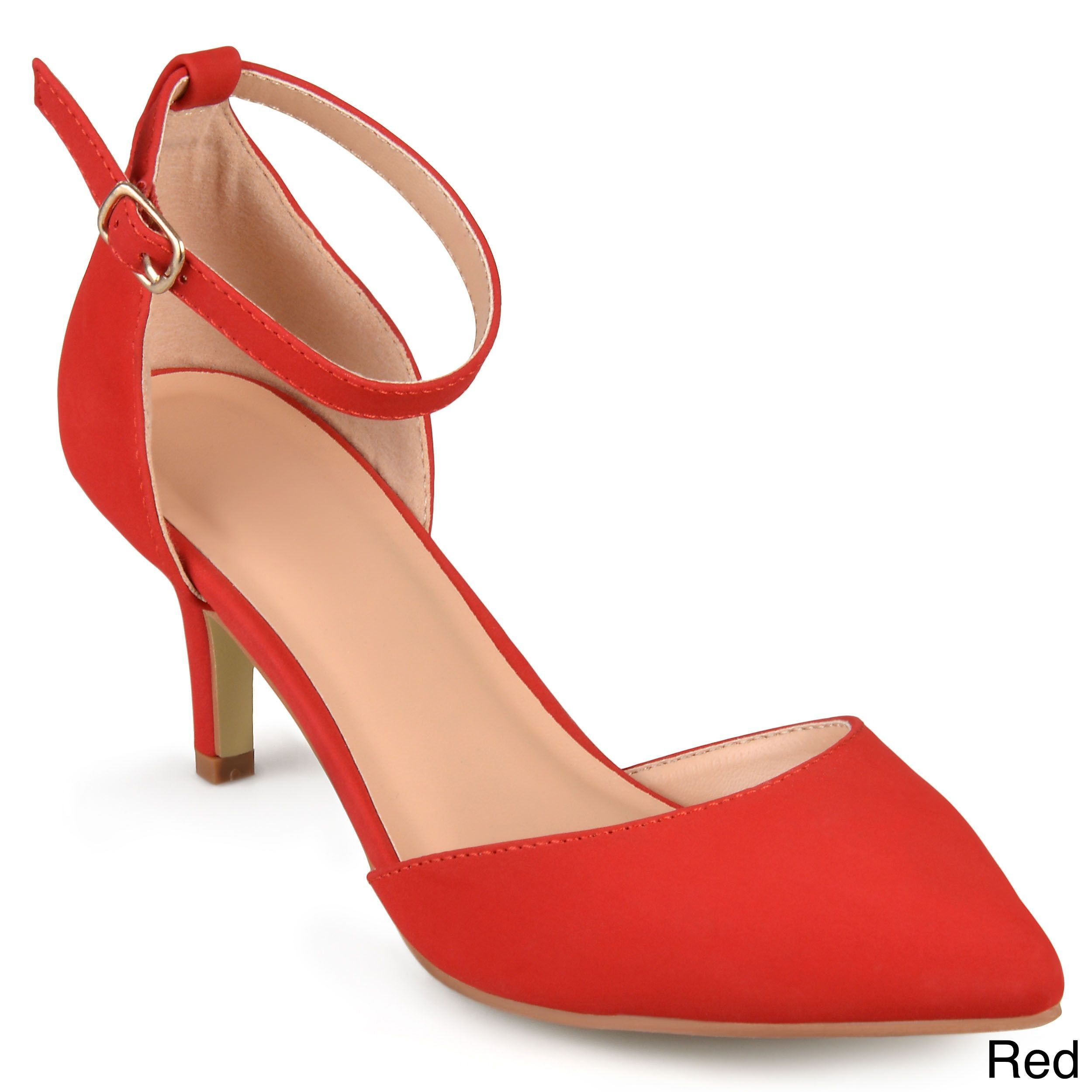 2fa3f9c03eb1c Journee Collection Women's 'Bay' Faux Suede Ankle Strap Pumps (Red ...