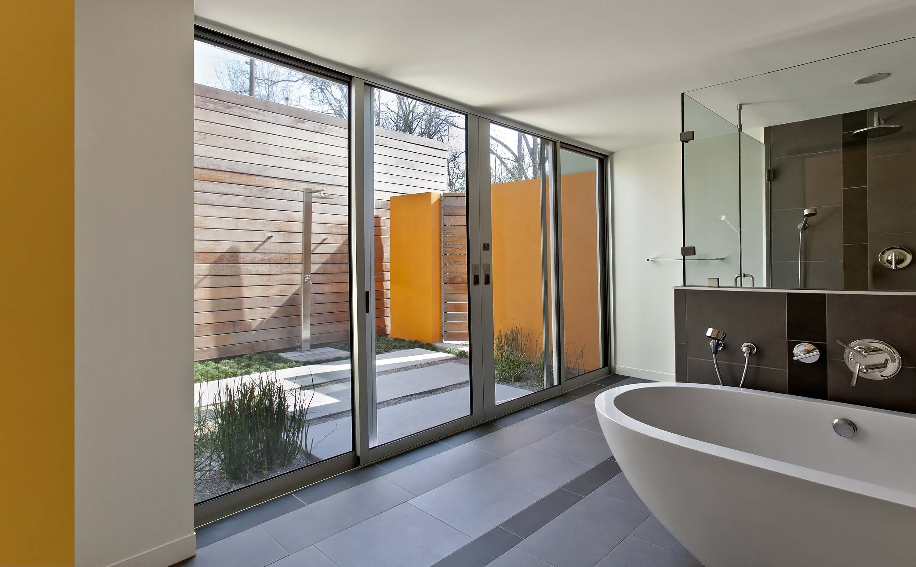 wood wall sliding door with concrete steps with grass in between i rh pinterest com