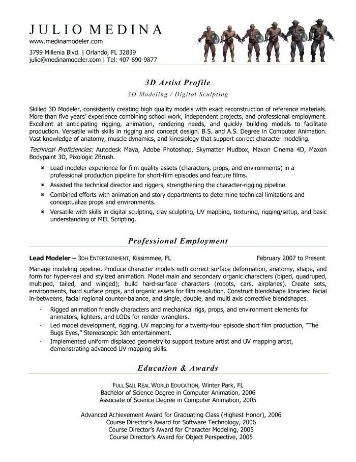 Resume Format 3d Animator Resume Format Pinterest Sample