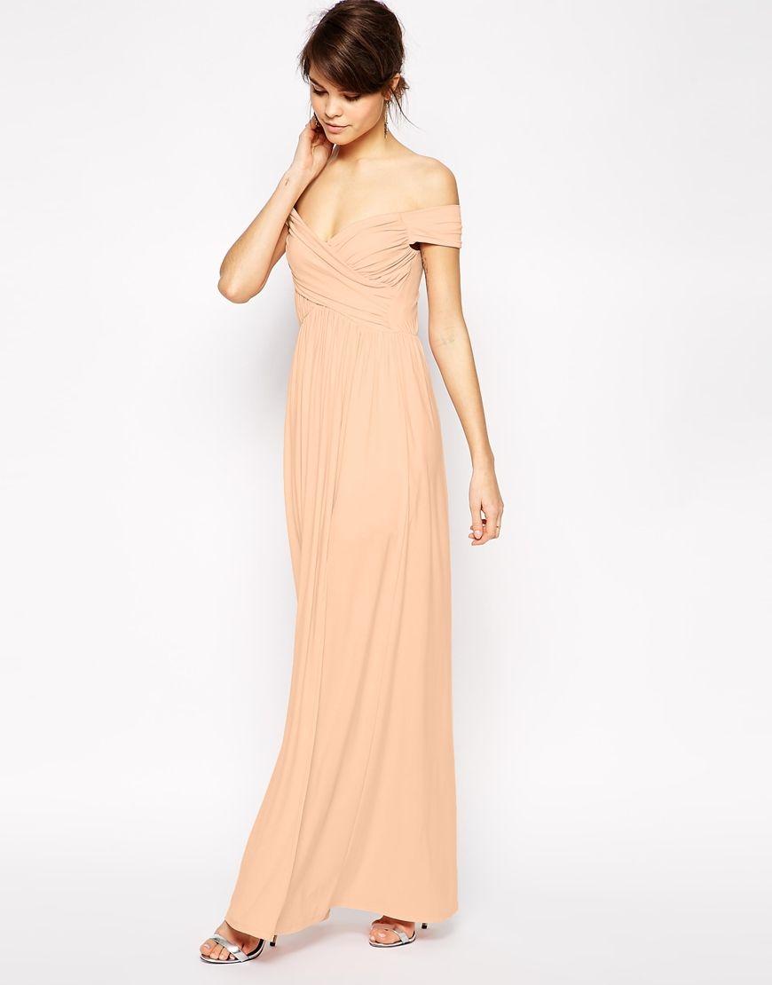 PETITE Bardot Ruched Maxi Dress