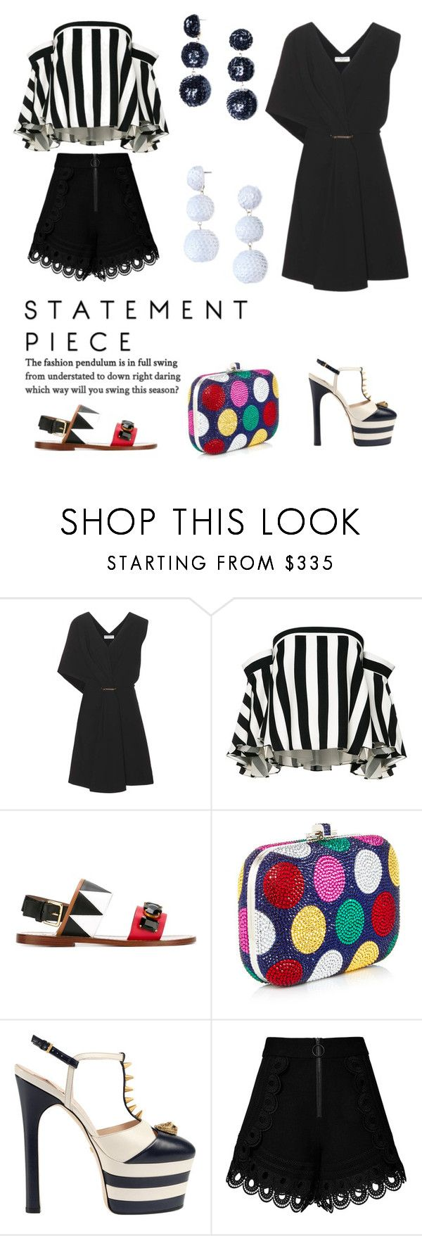 """Black and White Statement"" by shopsmth on Polyvore featuring Balenciaga, Milly, Marni, Gucci and self-portrait"
