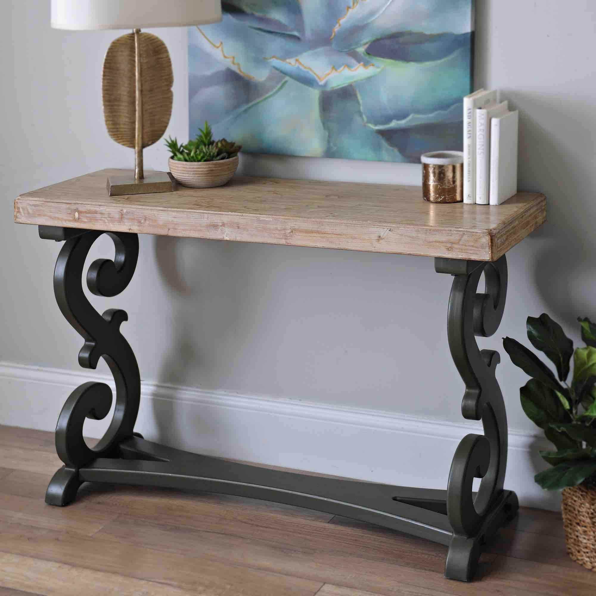 Product Details Natural Madison Scroll Console Table