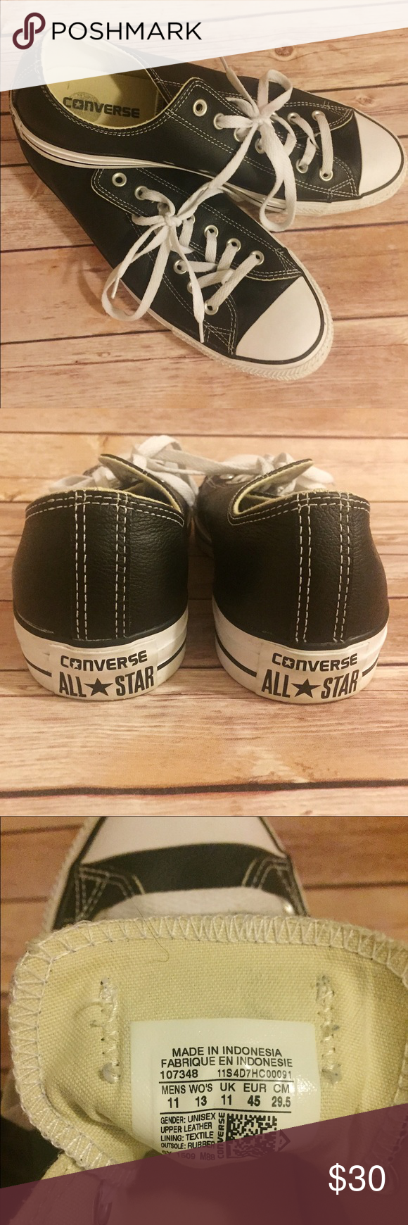 Converse All Star Classics Chuck Taylor Brand new, never worn, black leather low top Converse All Star Classic sneakers, size 11 men's/ 13 women's. The perfect Chuck Taylors to complete any look! Price negotiable, make an offer! NWOT Converse Shoes Sneakers