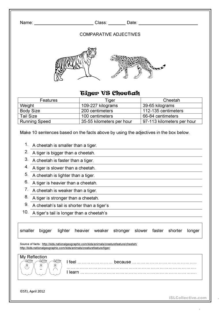 Tiger Vs Cheetah Worksheet Free Esl Printable Worksheets Made By Teachers Comparative Adjectives Writing Skills Teaching Jobs