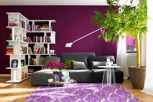 Love The Magenta Accent Wall Purple Living Room Home Decor Shared Room Divider Ideas