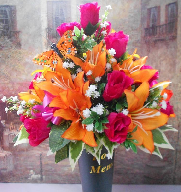 Artificial flower arrangements for graves artificial for How to make artificial flower arrangements