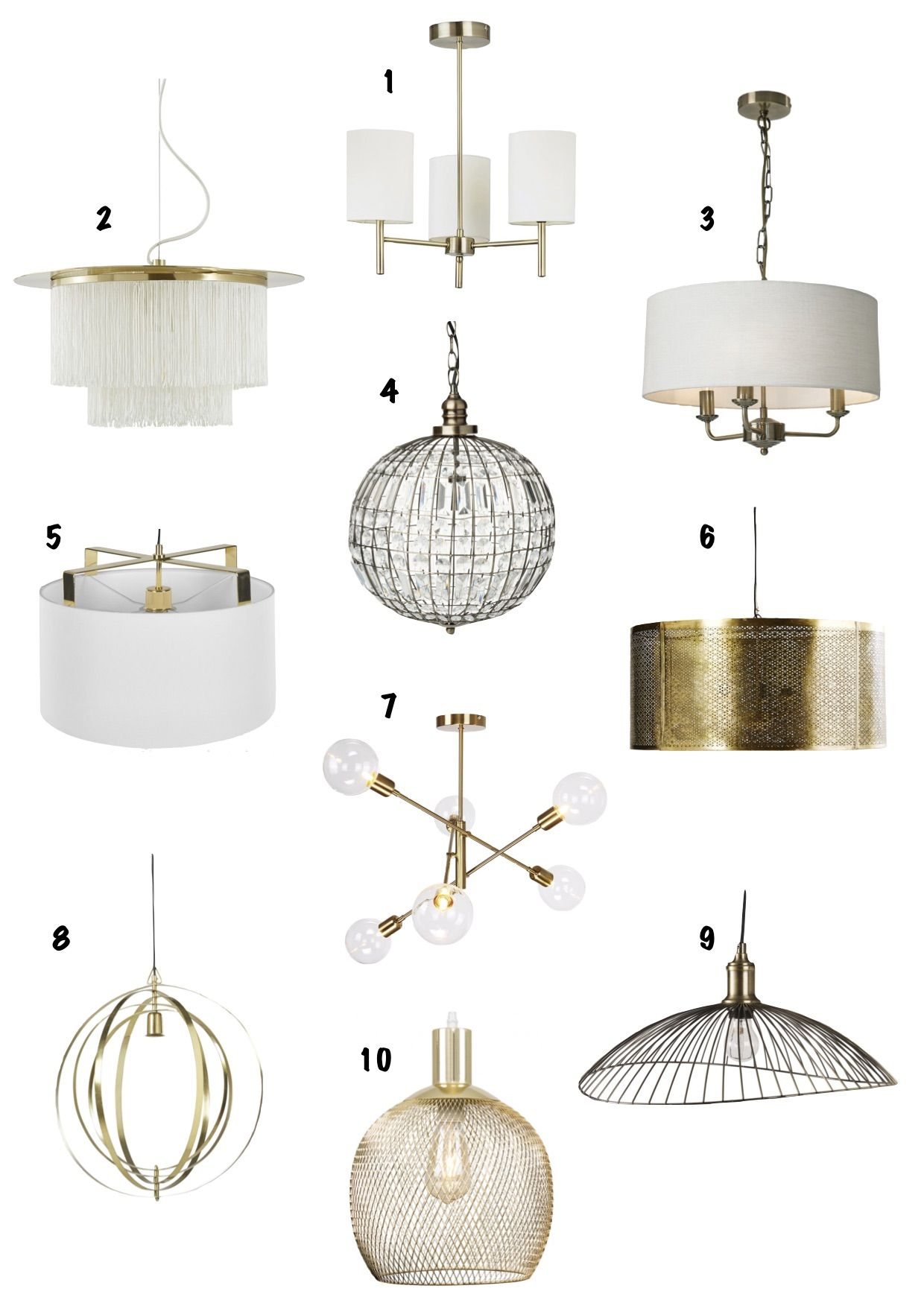 Here is my list of 10 of my favourite gold ceiling lights! #lighting #ceilinglight #pendantlight
