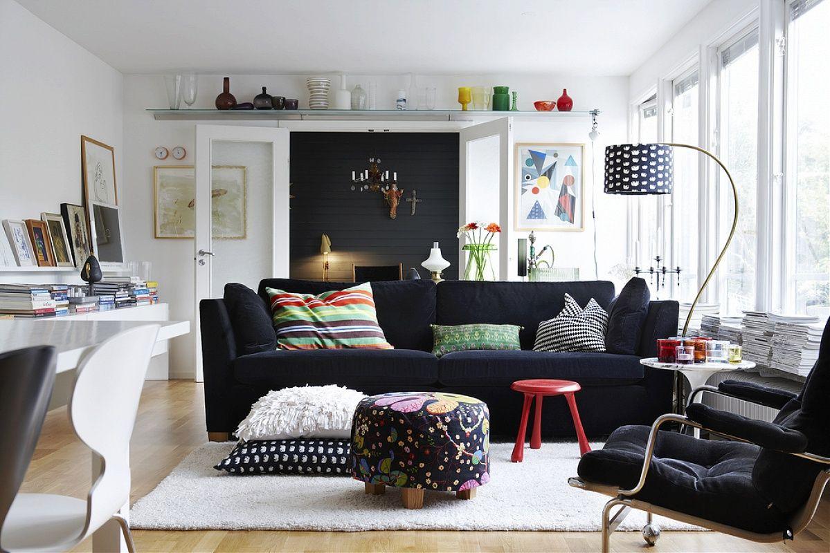 Room Black And White Living Room Interior