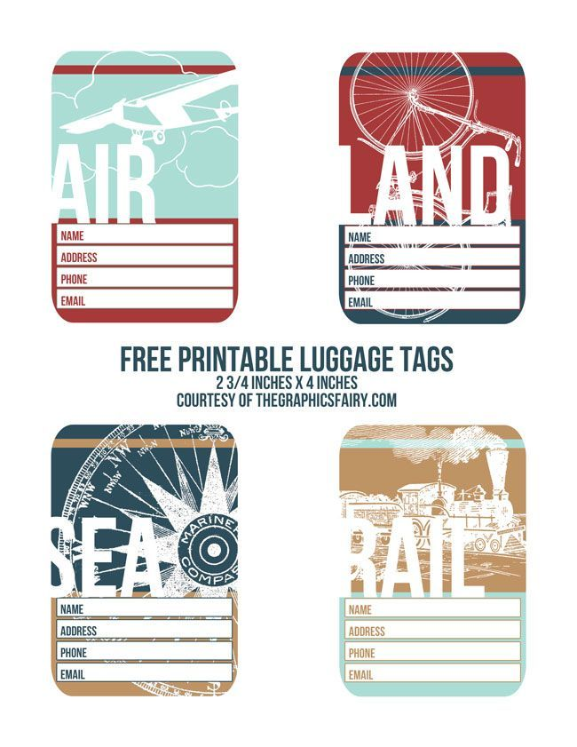 Cutest Printable Luggage Tags  Printable Luggage Tags Graphics