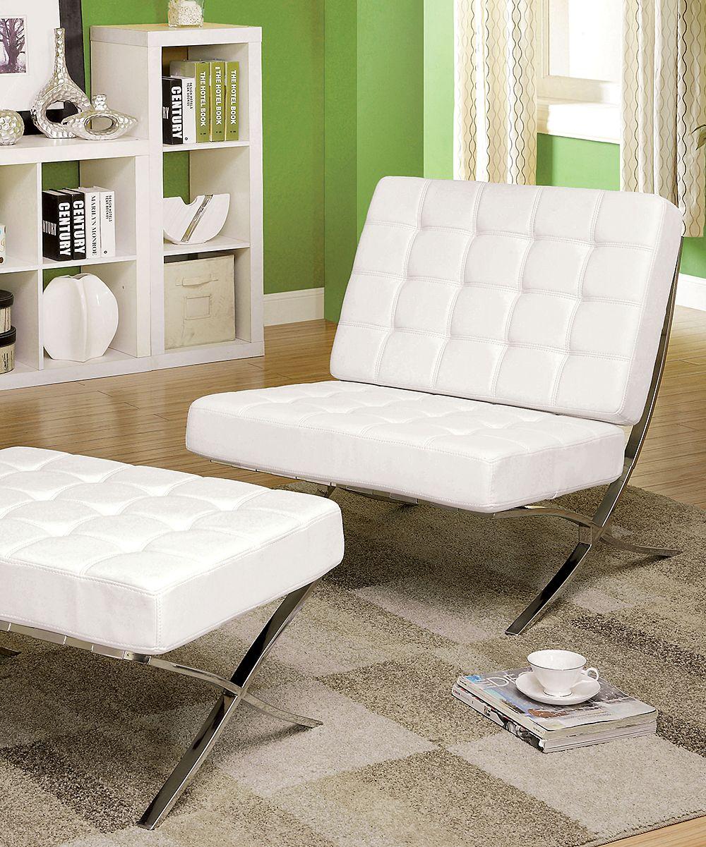 White Modesto Leatherette Chair u0026 Ottoman White