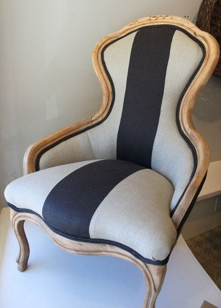 Bold Upholstery Fabric Reupholster Chair Victorian Chair Striped Upholstery