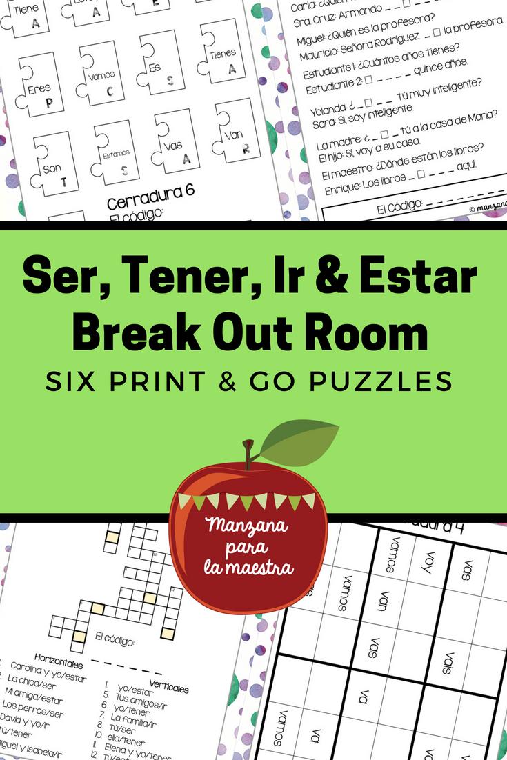 Tener Ser Ir Estar Break Out Escape Room First Verbs ...