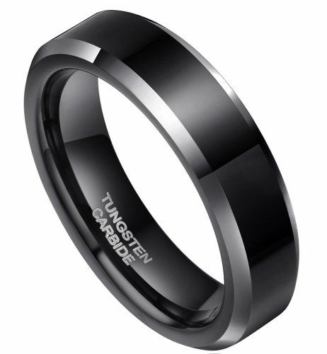 6mm Flat Top Two Tone Black Tungsten Carbide Ring Wedding Bands Sizes 4 to 15 (6)