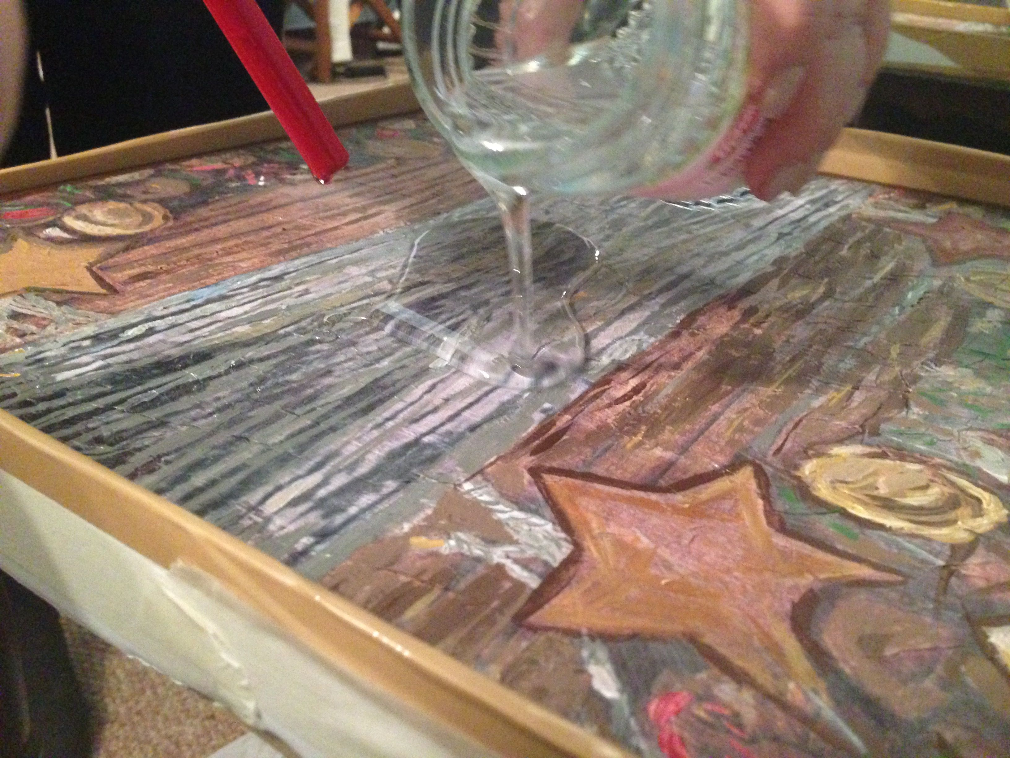 casting epoxy resin over painted wooden table transparent. Black Bedroom Furniture Sets. Home Design Ideas