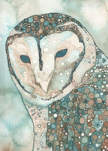 Masked Owl 5x7 print of hand painted watercolour from Tamara Phillips Art by DaWanda.com