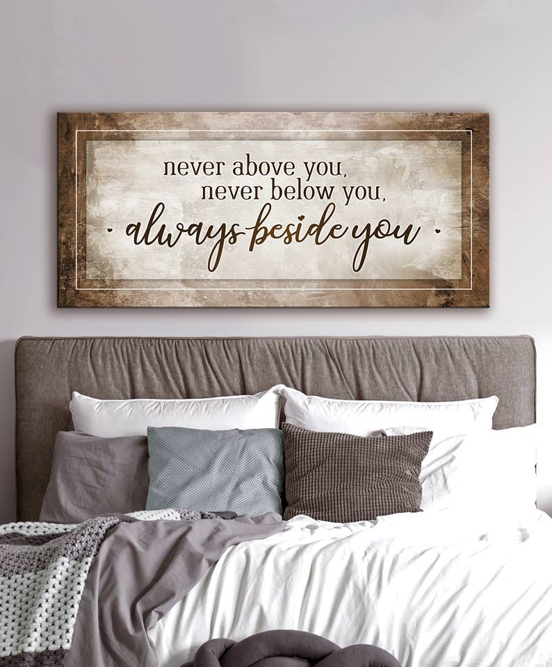 Couples Wall Art Never Above You Wood Frame Ready To Hang Bedroom Wall Decor Above Bed Wall Decor Bedroom Home Decor