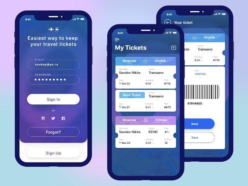 Ticket Keeper App Mockup 명함 앱 앱 디자인