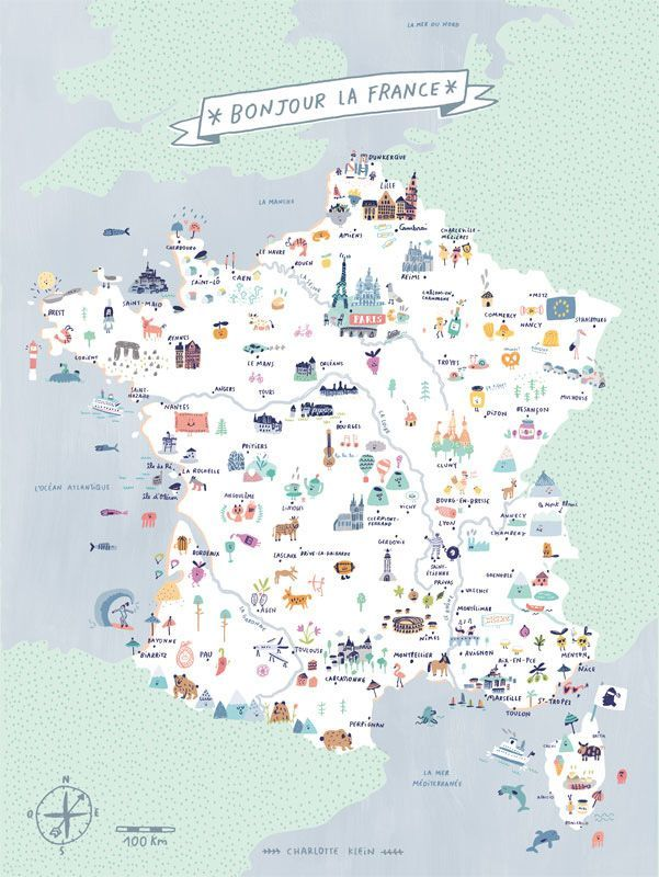 Bonjour La France Carte De France Illustree Charlotte Klein